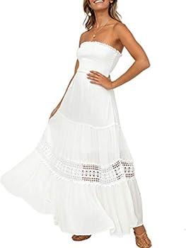 Lenmotte Women s Tube Top Strapless Boho Maxi Dress Summer Flowy Cotton Embroidery Long Dress White Large