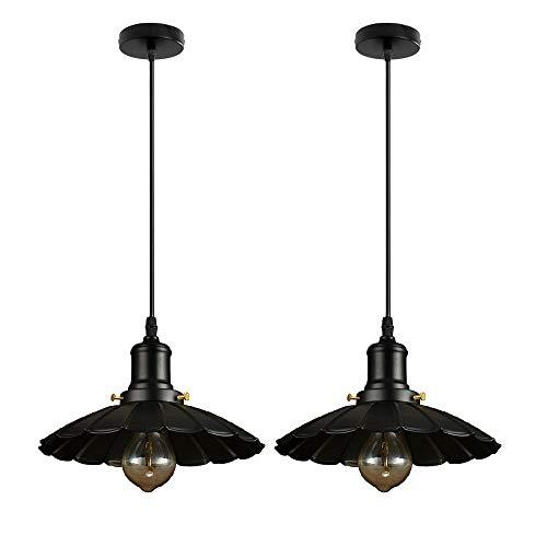 Lámpara de iluminación colgante retro industrial 2 PCS Metal negro Pantalla de lámparas Colgando Araña, Dormitorio creativo Luz de suspensión de techo para la isla de la cocina, Comedor, Foyer, Casa d