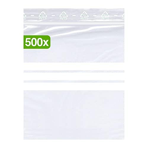 500 bolsas pequeñas con cierre a presión, 80 x 120 mm, se pueden escribir, DIN A7, 90 micras de grosor, transparentes, aptas para alimentos, sin presión, calidad premium.