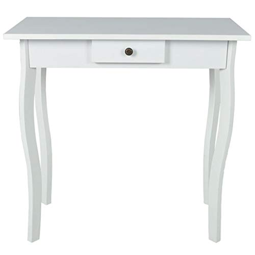 vidaXL New Cottage Style High Gloss Finish Side End Table Bedroom Drawer White MDF 73cm