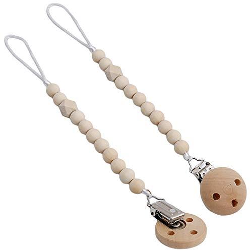 cadena chupetes Clip de madera chupete perlas de mordedor de madera natural-JPYZ