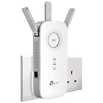 TP-Link AC1750 Universal Dual Band Range Extender, Broadband/Wi-Fi Extender, Wi-Fi Booster/Hotspot with 1 Gigabit Port and 3 External Antennas, Built-in Access Point Mode, UK Plug (RE450)