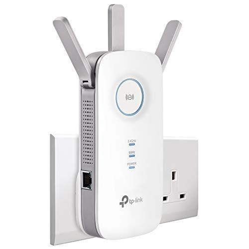 TP-Link AC1750 Universal Dual Band Range Extender, Broadband/Wi-Fi Extender, Wi-Fi Booster/Hotspot with 1 Gigabit Port and 3 External Antennas, Built-in Access Point Mode, UK Plug (RE450)