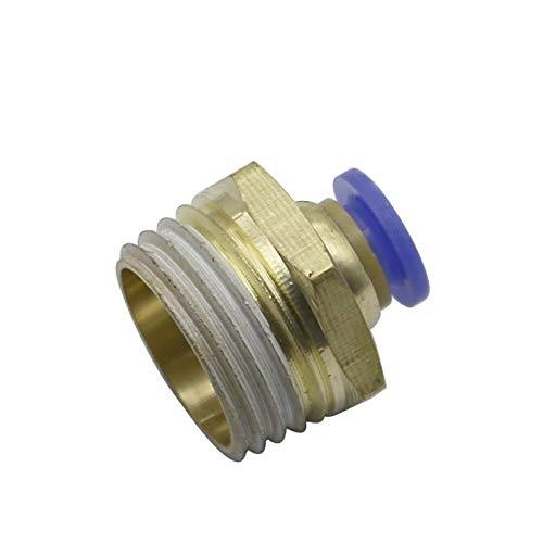 Pangyoo PYouo-Junta de tubería de latón Empuje Directamente en el Conector del compresor de Aire Racores, 1/8 '' 1/4 '' 3/8 '' 1/2 '' de Rosca Macho a 6 mm Material Grueso (Color : 6mm 1I2 Inch)