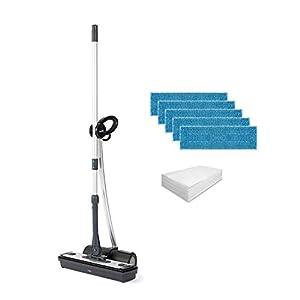 Polti Moppy Black Premium - Limpiador a vapor sin cables, extra dotación de paños, para todo tipo de suelos y superficies verticales lavables, Negro