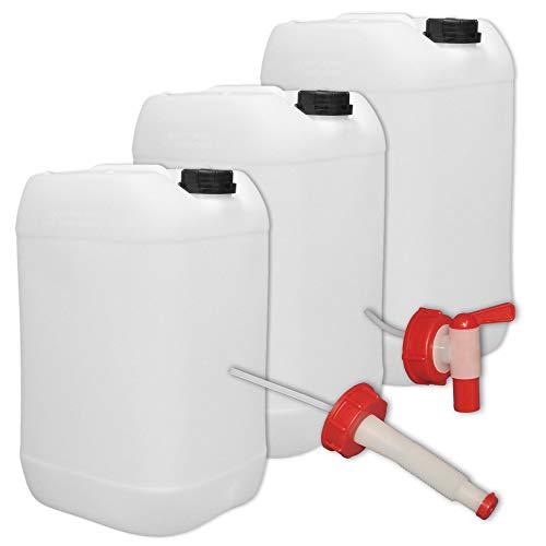 plasteo 3er Stück Set: 25 Liter Getränke- Wasserkanister Natur mit Hahn, Schraubdeckel und flexiblem Ausgießer (DIN 61) | Lebensmittelecht | Tragbar | Indoor und Outdoor | BPA Frei