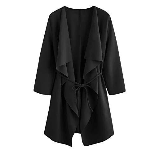 Xmiral Damen Mantel Casual Wasserfallkragen Pocket Front Wrap Medium Lange Strickjacke Jacke Outwear mit Gürtel (S,Schwarz)