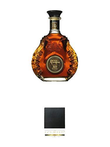 Polignac Cognac XO Royal Frankreich 1,0 Liter Magnum + Schiefer Glasuntersetzer eckig ca. 9,5 cm Durchmesser