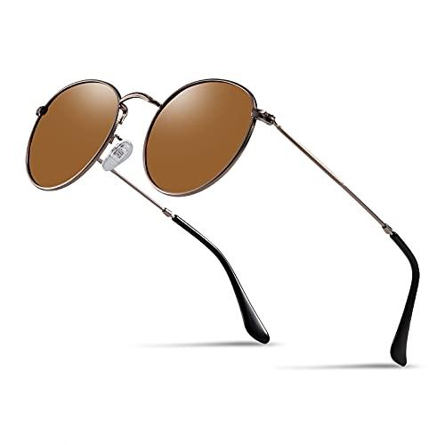 Kennifer Redondas Gafas de sol, Polarizadas Steampunk para Hombres y Mujeres UV400, Retro John Lennon Círculo Metálico Eyewear