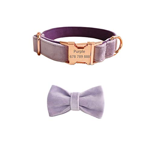 Gohome Pet Personalized Dog Collar Velvet Engraving Custom Name Phone Number ID Tag Metal Buckle Adjustable Collar for Small Dogs with Bow tie Puppy Collars (S, Purple)