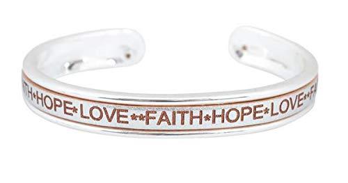 Armreif Faith Hope Love mit Ledereinlage (Silber)