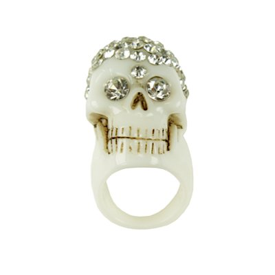 666 Kreepsville DIAMONTE SKULL COLLECTION anello white M
