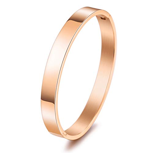 MeMeDIY Personalized Bracelet Engraving Name Identification ID Customized for Women Girls Stainless Steel Cuff Bangle (Small and Large Sizes, Rose-Gold Color)