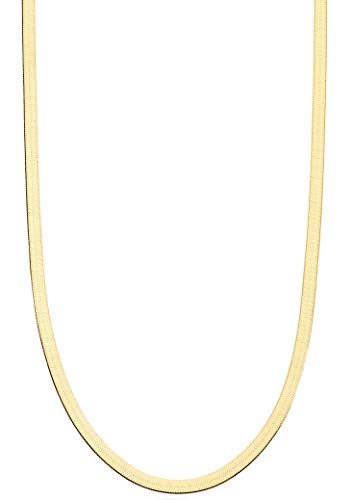 Miabella 18K Gold Over Sterling Silver Italian Solid 3.5mm Flexible Flat Herringbone Chain Necklace for Women Men 16, 18, 20, 22, 24, 26, 30 Inch Made in Italy
