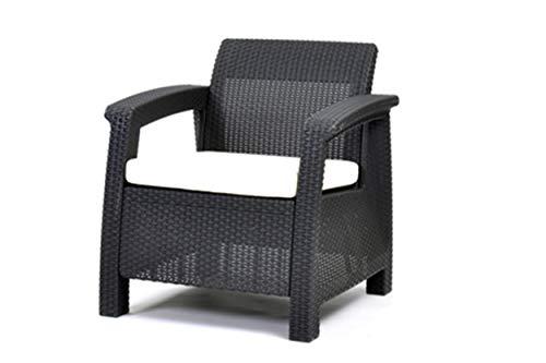 Keter Corfu Outdoor Rattan Garden Furniture Armchair - Graphite with Cream Cushions