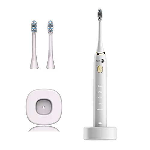 OPTUP Escova Dental Elétrica Sônica Recarregável Escova de Dente Elétrica com 5 Modos De Limpeza – Escova elétrica Sônica como perfeito presente – Remove manchas e branqueia os dentes - Branca