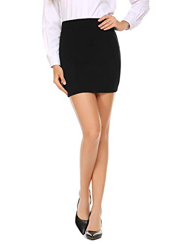 Zeagoo Women's Basic Bodycon Pencil Short Mini Skirt