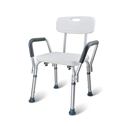 Jieer-C Ergonomische veiligheidsstoel, verstelbaar, aluminiumlegering, voor badkamer, douchestoel, senior, gehandicapt, zwangerschapstoilet, kruk, antislip, max. 136 kg (bl