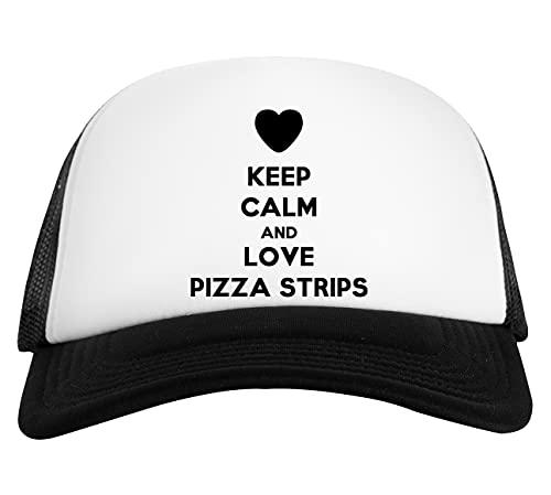 Keep Calm And Love Pizza Strips Berretto da Baseball Unisex Nero Bianco Baseball cap White Black