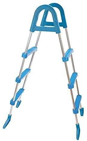 well2wellness® Poolleiter Pool Hochbeckenleiter aus Stahlrohr 3-stufig für Becken bis 110 cm Höhe