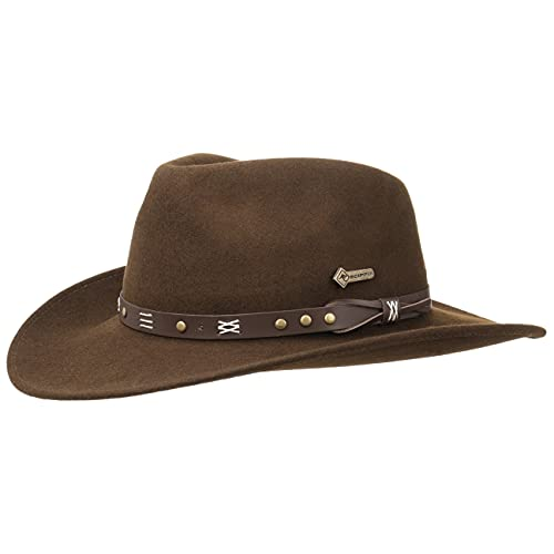 Scippis Chapeau Emerald Ranger Chapeau en Feutre de Laine Chapeau de rodéo (M (56-57 cm) - Marron)