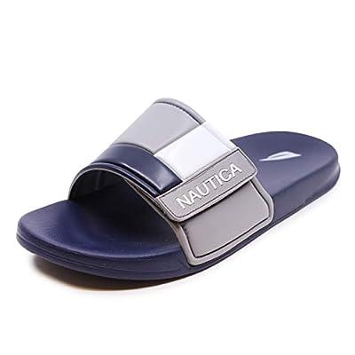 Nautica Men's Bower Athletic Slide, Adjustable Straps Comfort Sandal-Charcoal-8