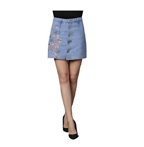 Rocke dames casual young Fashion zomerrok dames potloodrok kort hoog modieuze taille denim minirok smal Ge enkel pften voorzijde geborduurd