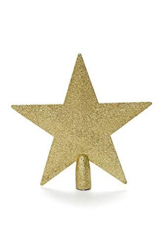 HEITMANN DECO Weihnachtsbaum-Spitze aus Kunststoff - moderner Christbaumstern für Baumspitze - Gold mit Glitzer