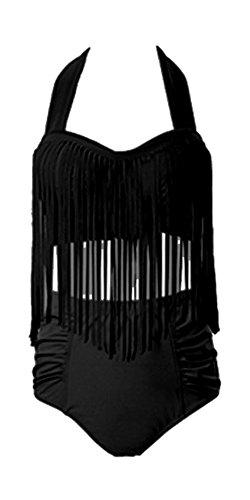 Perfashion Frauen Groß Größe High Waist Bademode Franse Troddel Bikini Badeanzug (42, Schwarz)