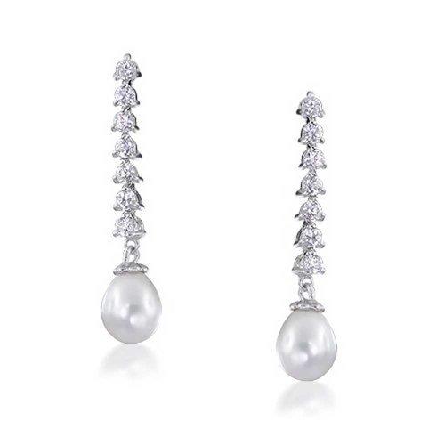 Bling Jewelry coltivate di acqua dolce perla lampadario CZ Orecchini 8mm rodio in ottone nichelato