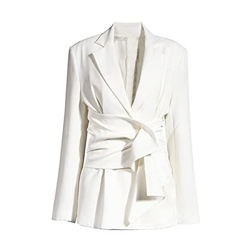 NSWT Chaqueta Irregular de junta dividida con nudo blanco para mujer, nueva solapa, manga larga, chaqueta holgada, moda, primavera, otoño (Color : White, Size : S code)