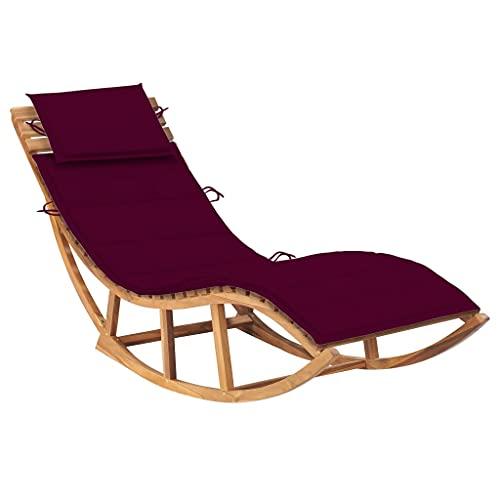 vidaXL Bois de Teck Solide Chaise Longue à Bascule avec Coussin Transat de Patio Chaise Longue d'Extérieur Bain de Soleil de Terrasse Balcon Jardin