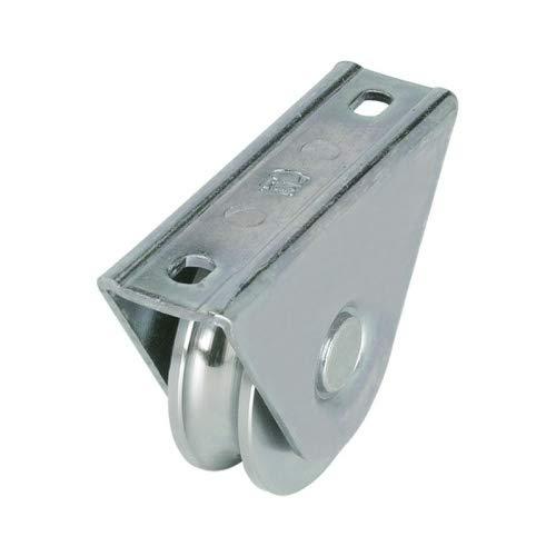 Rueda de puerta correderas y porton con soporte sobreponer, diametro 80mm, para perfil en U de 20mm, en acero zincado - MADE IN ITALY - precio e qualidad profesional