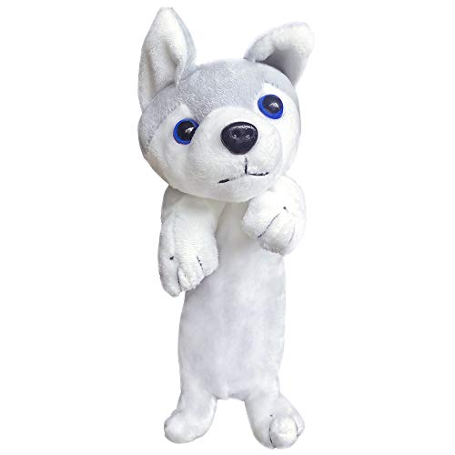 Plush Pencil Case Pouch Animals Dog Holder for Boys Girls,Cartoon Animal Design Unique Cute Soft Stuffed Box Doll Toy Pencil Pouch(Husky)