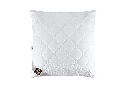 Set double pack : Oreiller matelassé de qualité premium en microfibre Design « Aphrodite », remplissage des billes de fibres 3-D - très doux et confortable - force de soutien réglable par fermeture-éclair. Un bord blanc perle incorporé donne à l'oreiller une élégance particulière (blanc perle, 2x 80x80)