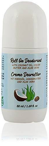 100% Natural Roll On Deodorant with Coconut Oil, Cocoa Butter and Aloe Vera for Men and Women. Travel Size, Liquid, Anti perspirant, 50 ml.