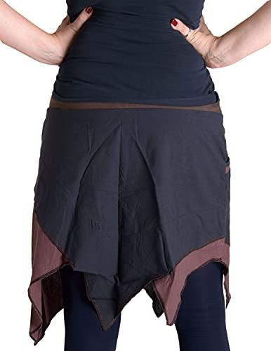 """Vishes – Alternative Bekleidung – Asymmetrischer Patchwork Zipfelrock aus Baumwolle mit """"Hosentaschen"""" braun 36 - 2"""