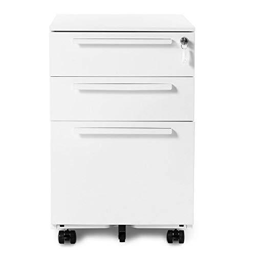 Nyyii Bürorollenbehälter, Schubladenschrank Metall, Abschließbarer Rollenbehälter mit 3 Schubladen, Schreibtisch Container Büromöbel, Hängeregistratur, Grundsolide Verarbeitung (weiß)