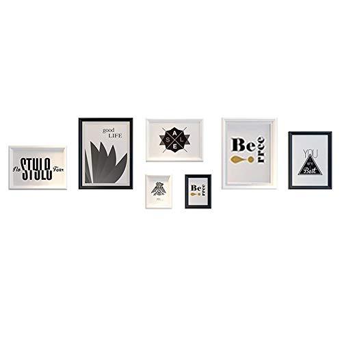 Multi fotolijst fotomuur, Scandinavische MDF creatieve combinatie fotoalbum muur/collage foto (192 * 54 Cm), pak van 7, zwart en wit