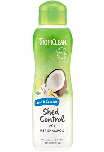 TropiClean Shampoo for Pets - Shed Control - Moisturises Skin & Coat - For Pets - Paraben & Dye Free - Environmentally-Safe, Cruelty-Free - Lime & Cocoa Butter (335 ml)