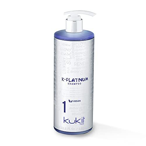 Kukit Hair - K-Platinum 1 | Champú Matizador AntiAmarillo para Cabellos Rubios, Mechas y Canas | Champú Matizador con Pigmentos Azules | Bote 1000 ml