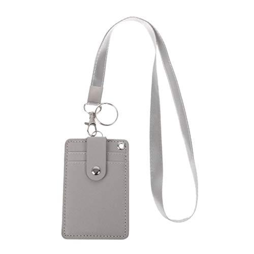 Roydoa - Tarjetero de identificación para oficina o escuela con llavero, correa para el cuello, color gris 11x7.2cm