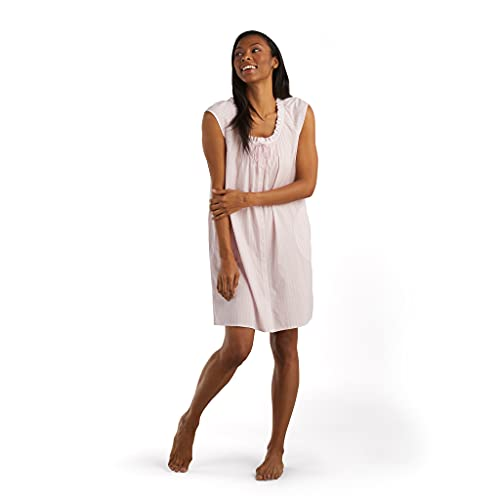 Miss Elaine Nightgown - Women's Short Woven Nightgown with Pockets, Ruffled Neckline, Cap Sleeves and Cute Bow (Small, Pink/White Stripe)