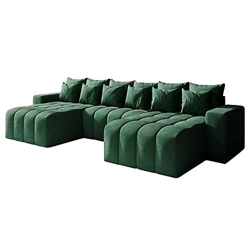 Selsey Batilo U-Shaped Corner Sofa Bed Green