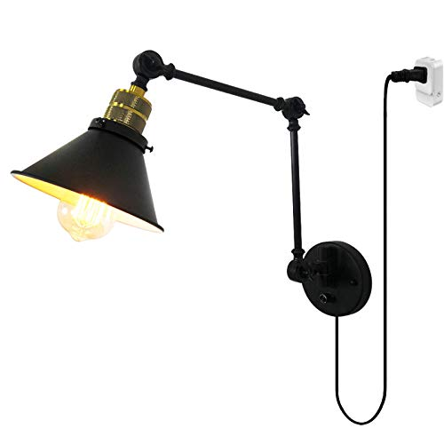 HKLY E27 Retro Industrial Brazo Largo Lámpara De Pared, Aplique De Pared Ajustable De Metal Negro Con Interruptor Y Cable Para Pasillo Escalera Dormitorio Sala De Estar Restaurante Luz Decoración