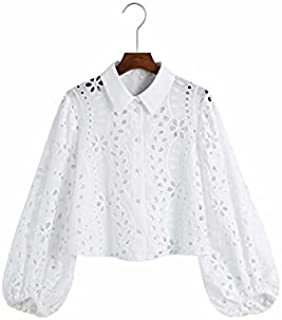 Heshaodecx Long Sleeve Tees for Women Ladies Vacuous Embroidery White Brusk Blouse Top Office Ladies Lantern Sleeve Casual...