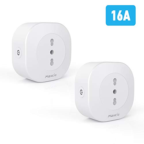 Presa Intelligente Alexa, Maxcio Mini Presa Smart Compatibile con Android iOS Alexa e Google Home, funzione con APP Smart Life, alimentazione 16A con Controllo Vocale/Remoto, Family Share (2 packs)