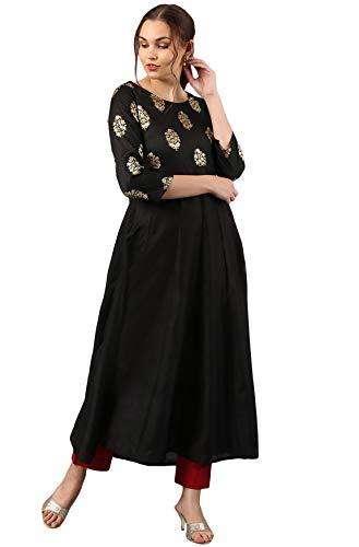 Janasya Indian Tunic Tops Poly Silk Kurti for Women (JNE2266-KR-490-XXL) Black