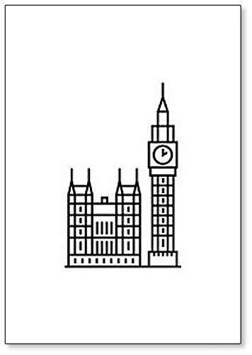 Big Ben London Klok Minimalistische Illustratie Koelkast Magneet