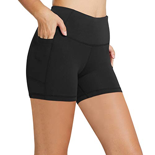 """BALEAF Women's 5"""" High Waist Workout Yoga Running Compression Exercise Volleyball Shorts Side Pockets Black M"""